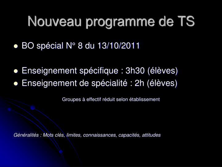 Nouveau programme de TS