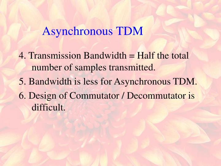 4. Transmission Bandwidth = Half the total number of samples transmitted.