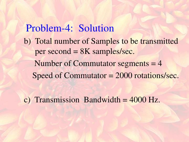 Total number of Samples to be transmitted per second = 8K samples/sec.