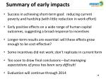 summary of early impacts