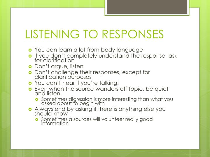LISTENING TO RESPONSES