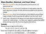 mass number nominal and exact mass