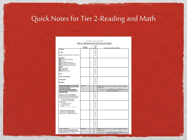 Quick Notes for Tier 2-Reading and Math