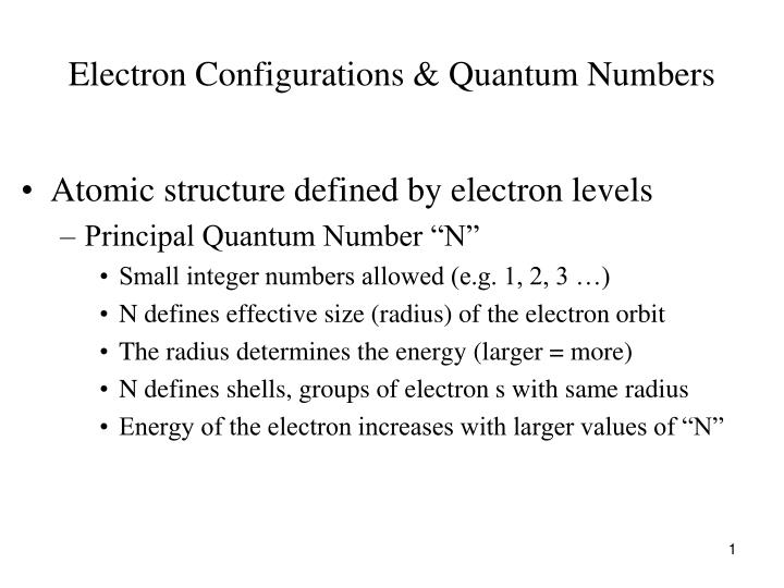 electron configurations quantum numbers n.