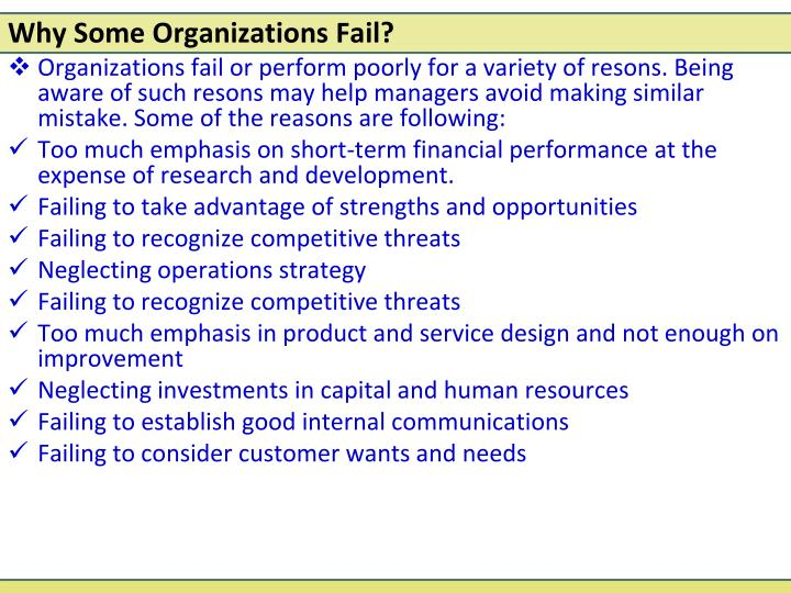 why organizations fail Why some businesses fail while others succeed the worst part about a failing business is that the entrepreneur is unaware of it happening until it is often too late.