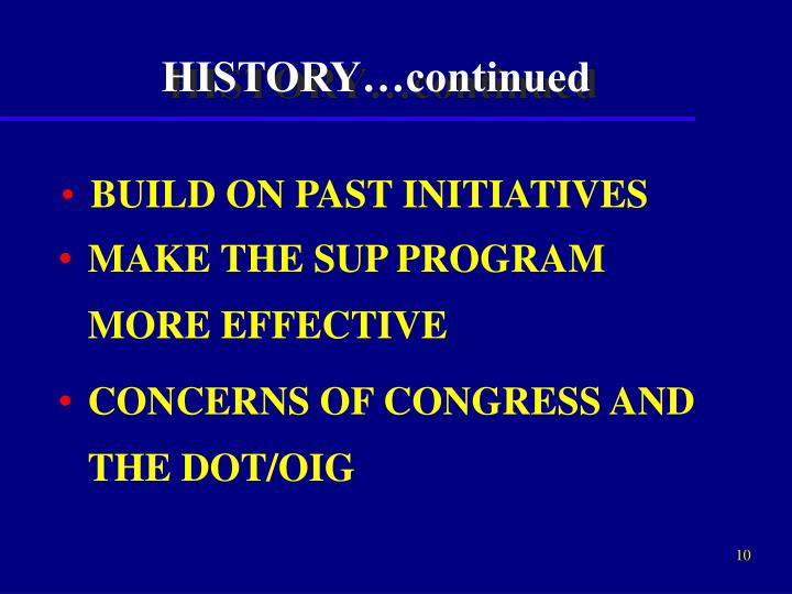 BUILD ON PAST INITIATIVES