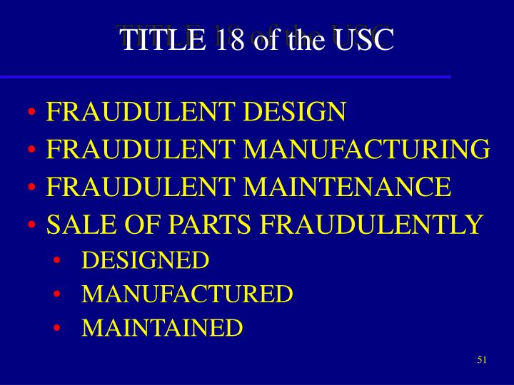 TITLE 18 of the USC