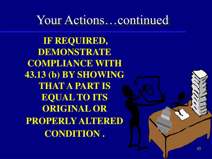 Your Actions…continued
