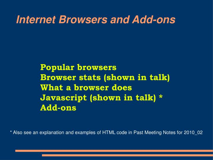 internet browsers and add ons