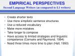 empirical perspectives second language writers as compared to l1 writers