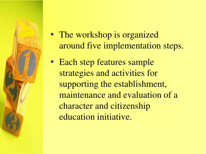 The workshop is organized around five implementation steps.