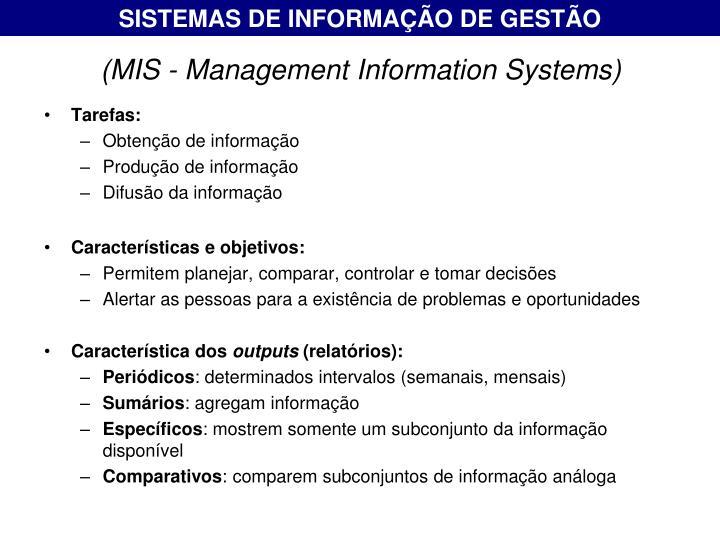 SISTEMAS DE INFORMAÇÃO DE GESTÃO
