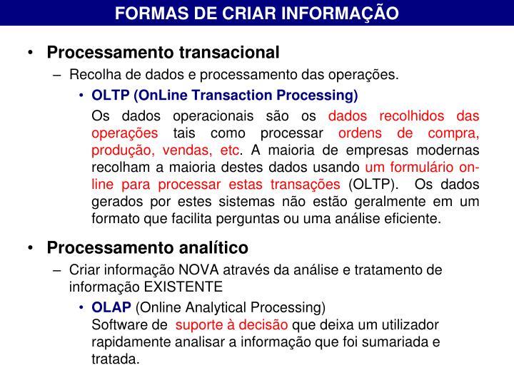 FORMAS DE CRIAR INFORMAÇÃO