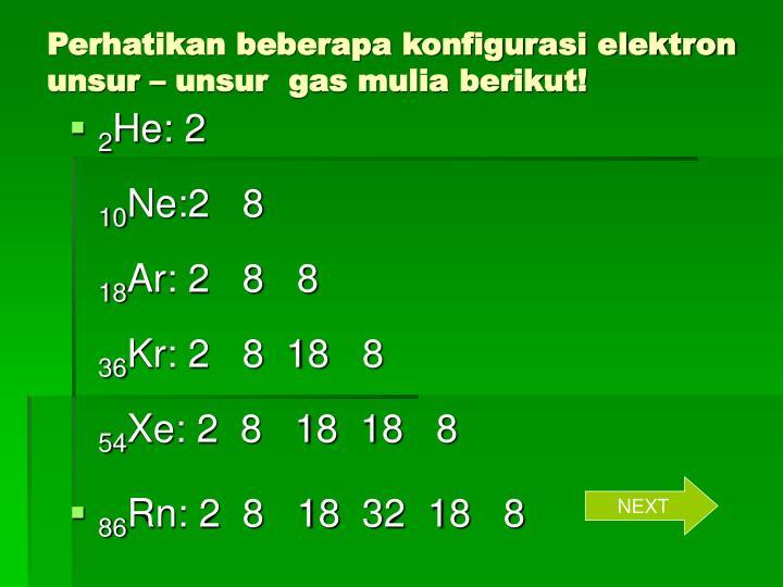 Perhatikan beberapa konfigurasi elektron unsur – unsur  gas mulia berikut!