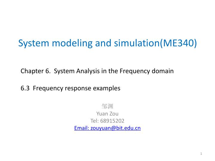 system modeling and simulation me340 n.