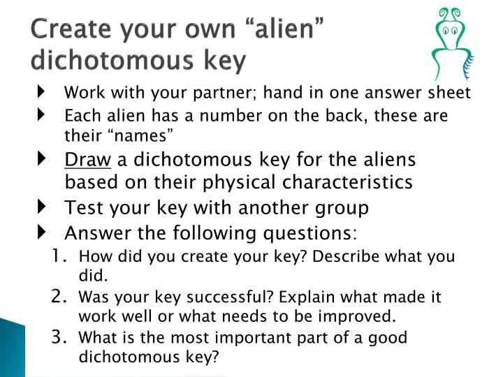 Alien Dichotomous Key - The Best Key 2018