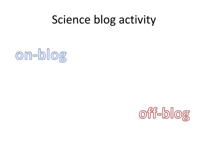 Science blog activity