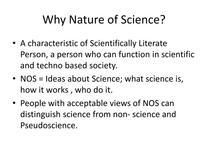 Why Nature of Science?