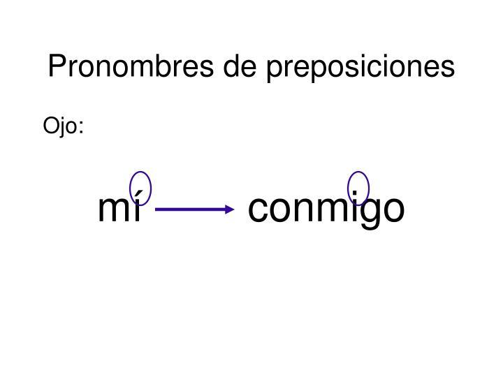 Pronombres de preposiciones