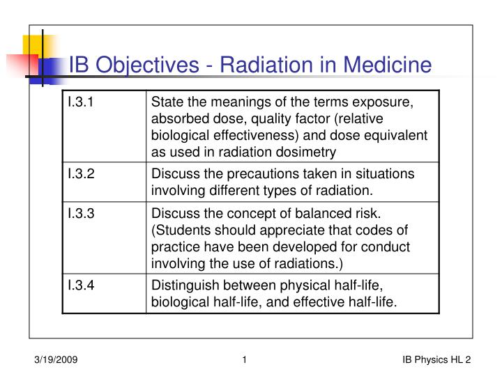 radiation in medicine Undergraduate radiation therapy the undergraduate course that trains radiation therapists please follow this link radiation oncology second, third, fourth and fifth year medical students are attached to the department of medicine in st james's hospital, tallaght university hospital and affiliated hospitals.