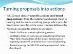 turning proposals into actions