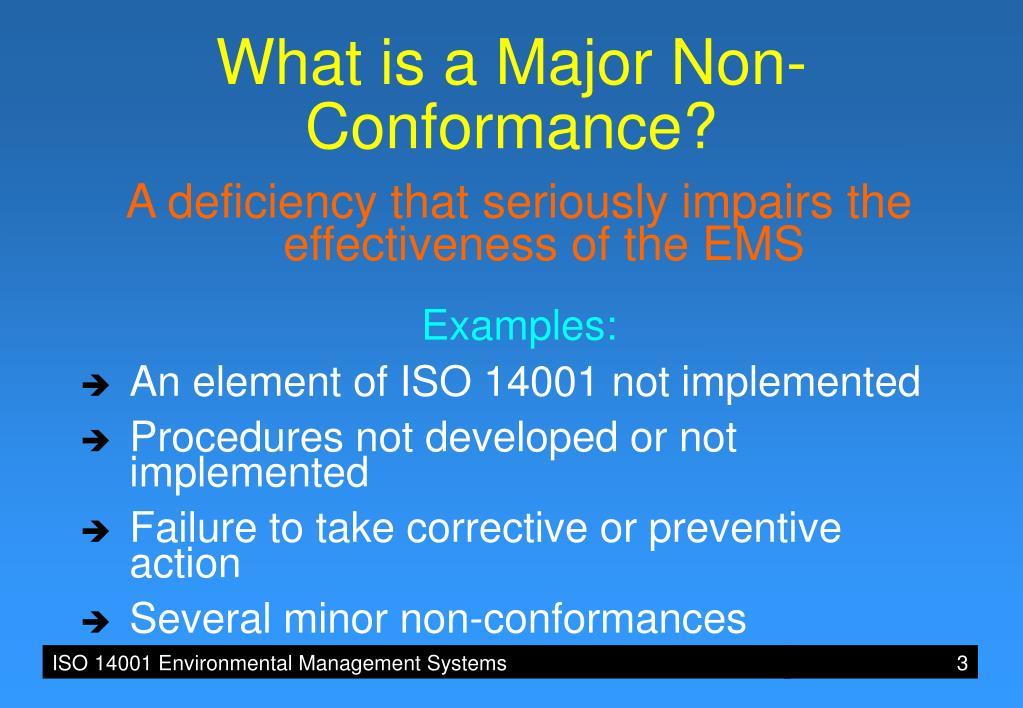 PPT - ISO 14001 4 5 2 NON-CONFORMANCE, CORRECTIVE AND