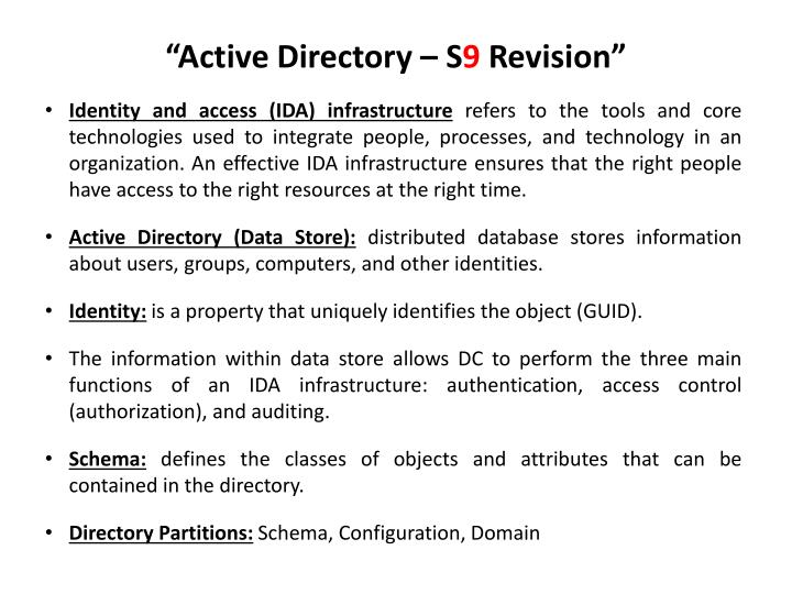 Active directory s 9 revision