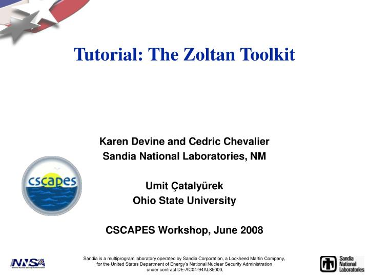 PPT - Tutorial: The Zoltan Toolkit PowerPoint Presentation