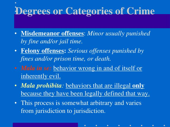 Degrees or Categories of Crime