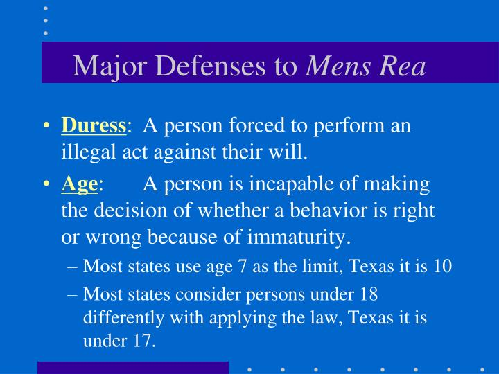 Major Defenses to