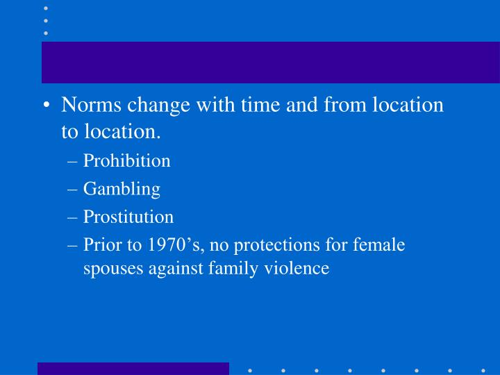 Norms change with time and from location to location.