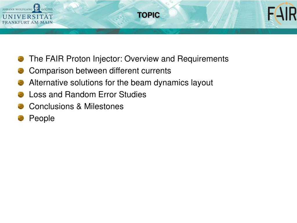 PPT - Beam Dynamics Layout of the FAIR Proton Injector