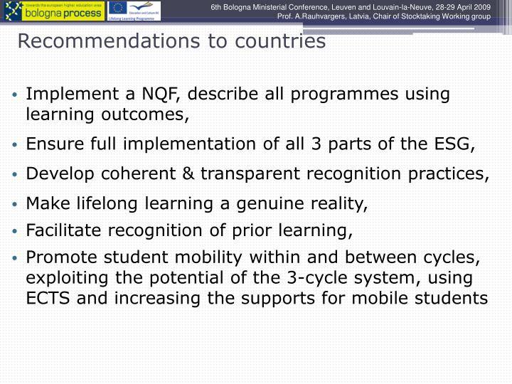Recommendations to countries