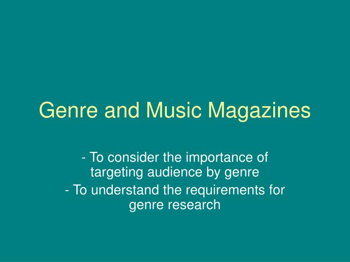 genre and music magazines n.