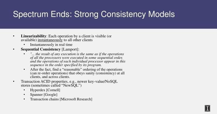 Spectrum Ends: Strong Consistency Models