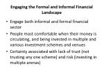 engaging the formal and informal financial landscape