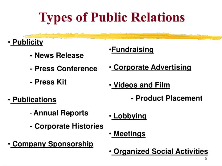 Types of Public Relations