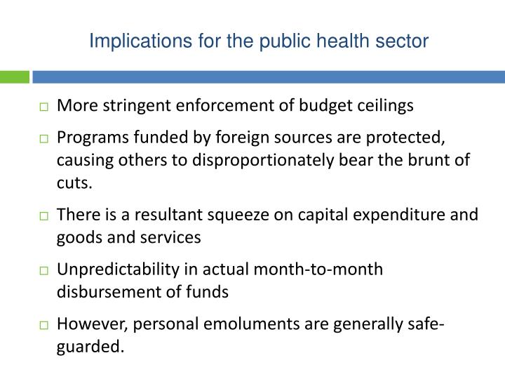 Implications for the public health sector