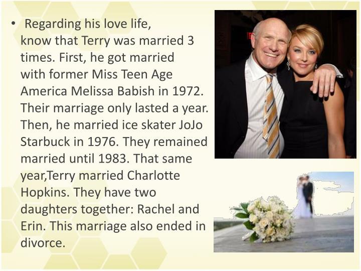 Regarding his love life,