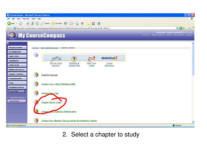 2.  Select a chapter to study