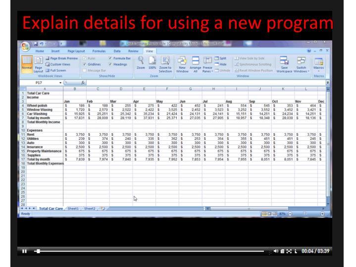 Explain details for using a new program