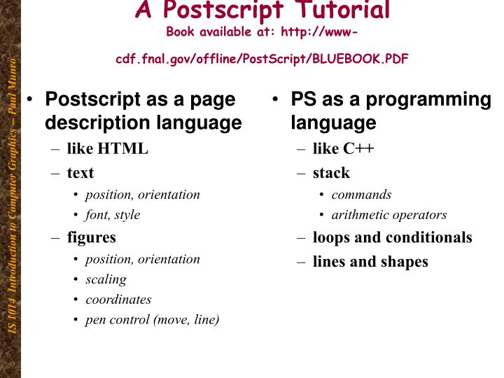 PPT - A Postscript Tutorial Book available at: www-cdf fnal