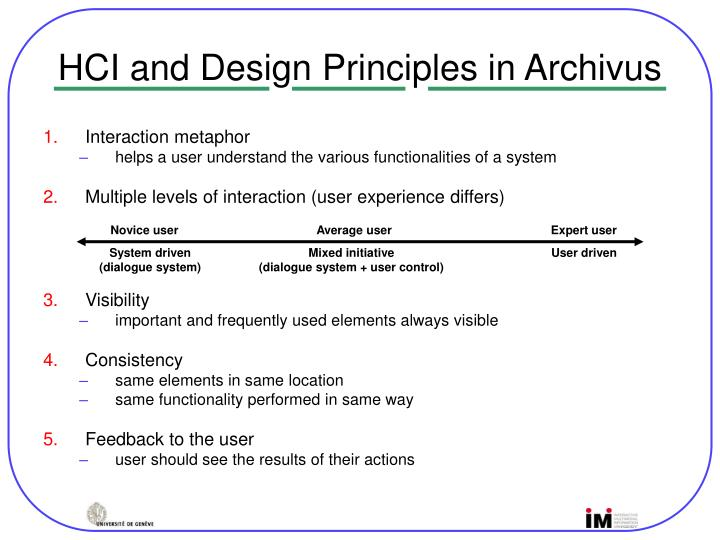 HCI and Design Principles in Archivus
