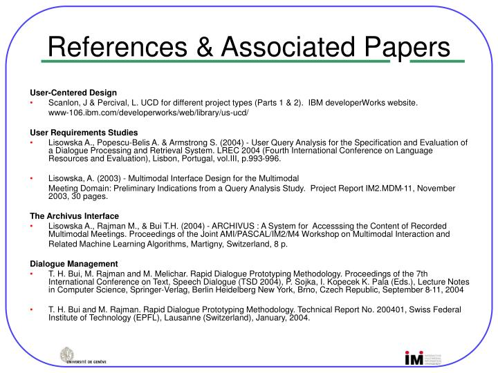 References & Associated Papers