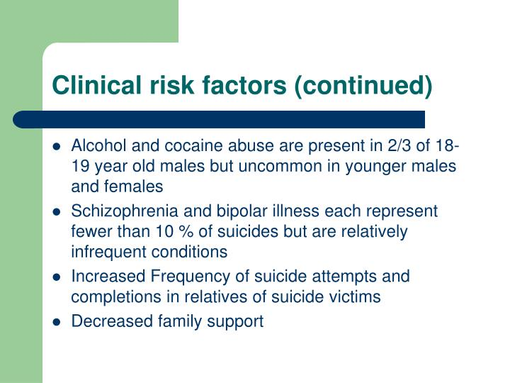 Clinical risk factors (continued)