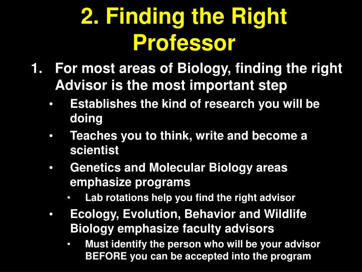 2. Finding the Right Professor