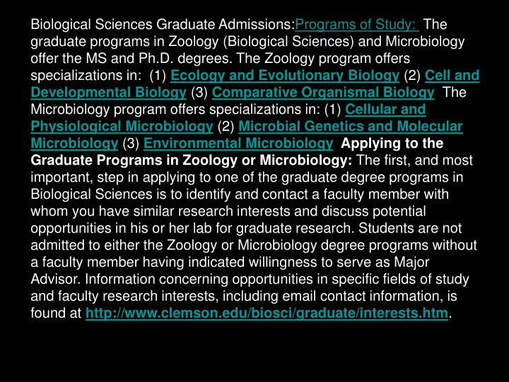 Biological Sciences Graduate Admissions: