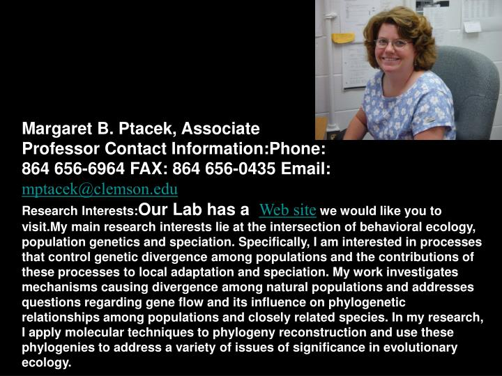 Margaret B. Ptacek, Associate Professor