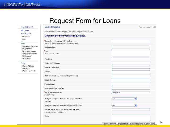 Request Form for Loans