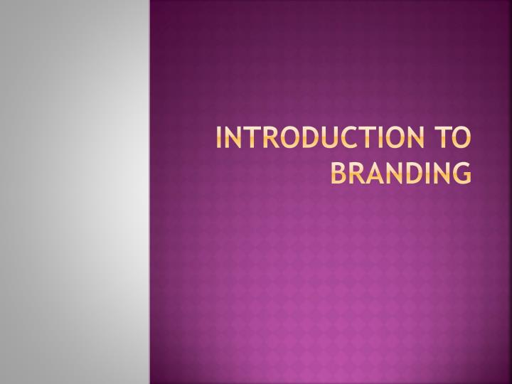 introduction to branding n.